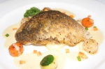 Pan fried sea bass
