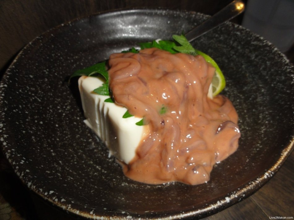 Marinated squid on Tofu