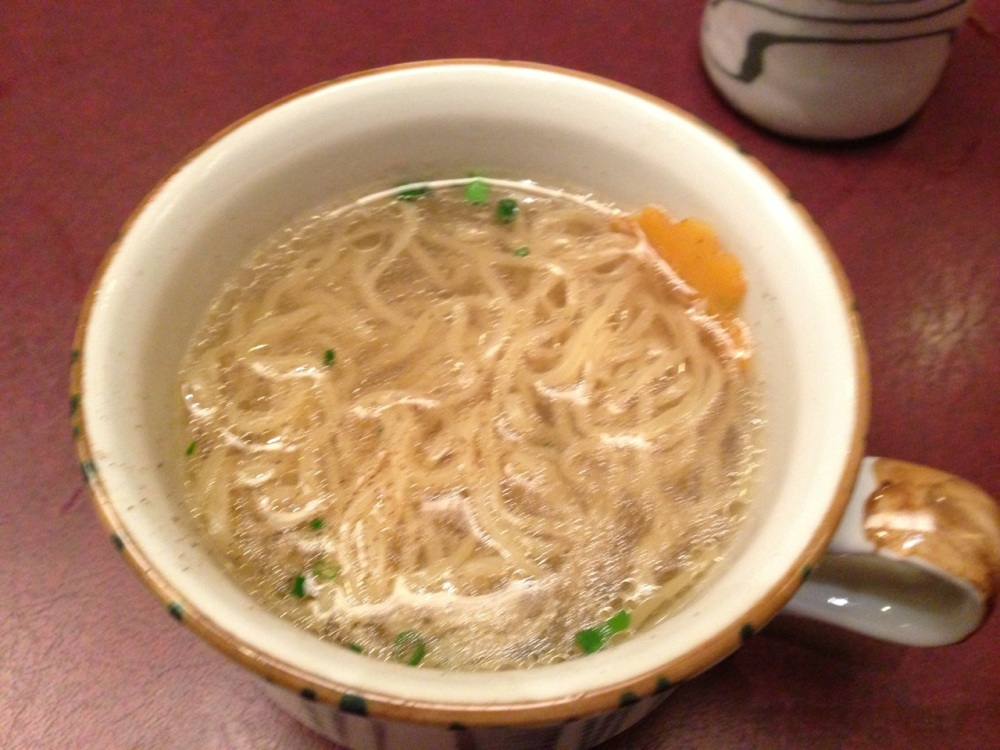 Noodles cooked in the shabu soup