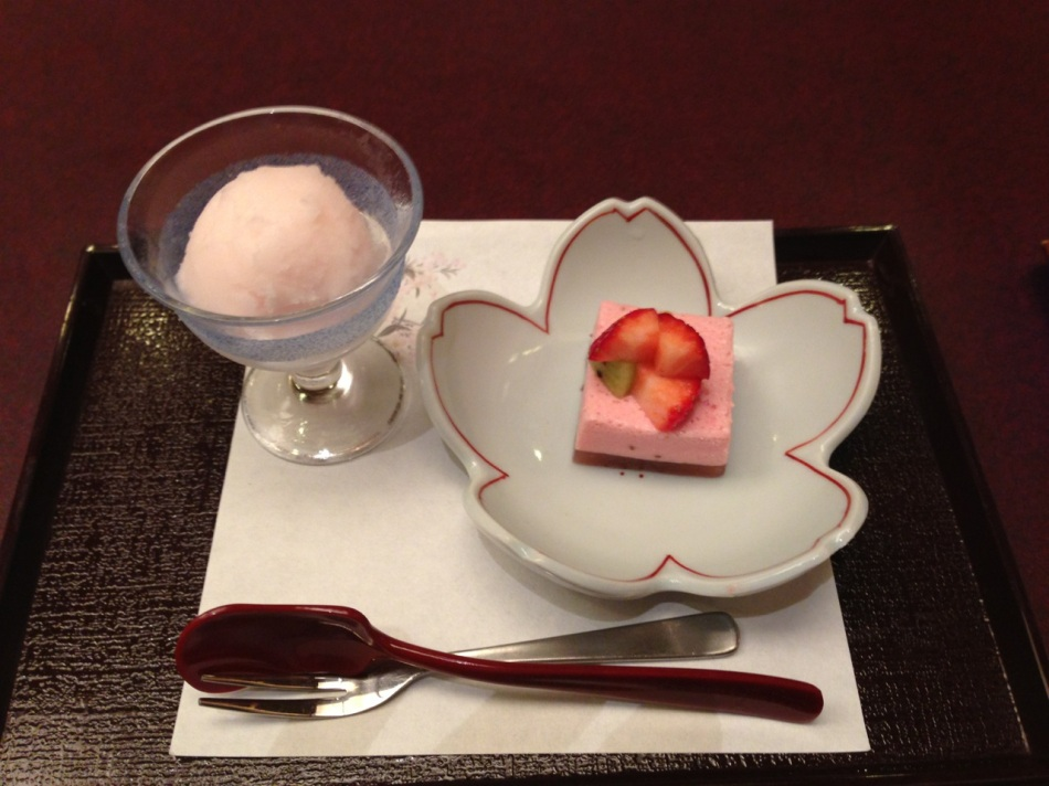 Seasonal strawberry sorbet and mouse