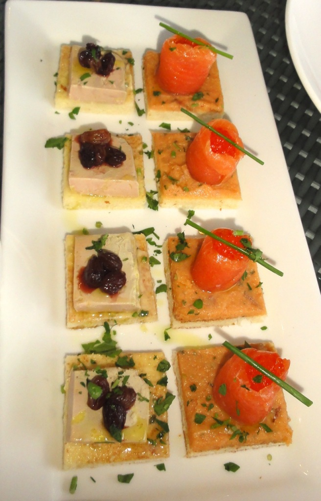 Foie Gras Terrine with  Caviar and Salmon Tartare with Ebiko