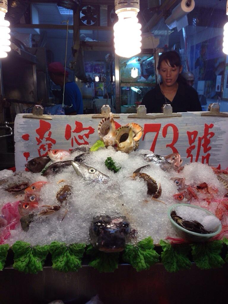 Selection of seafood on display