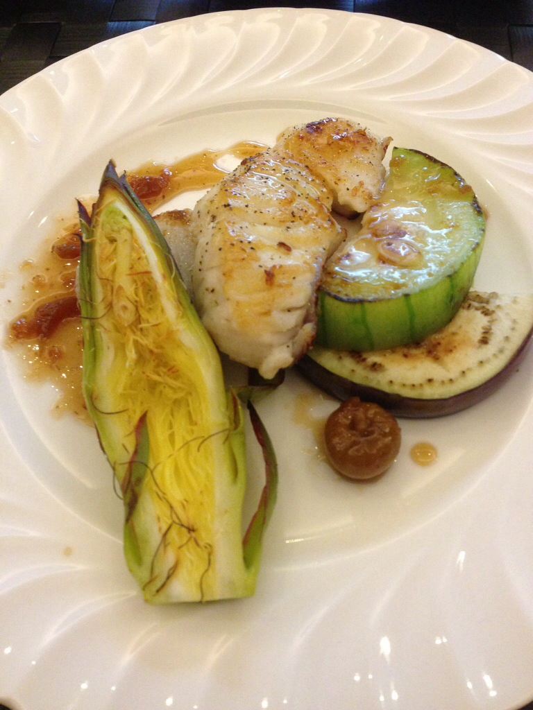 Cod with endives, figs and lahfoo