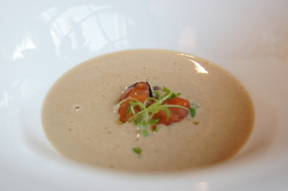 Blueshell mussel soup, sea herbs and wild fennel