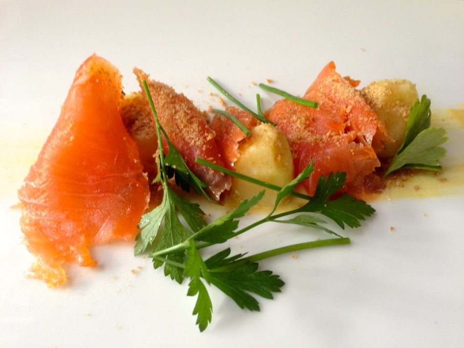 House-cured salmon, English mustard, kipler potato, cucumber and tasted rye