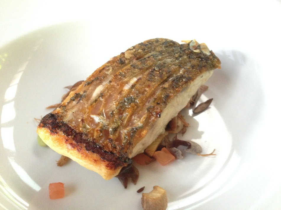 Grilled fillet of barramundi, Chinese roast duck consommé and local organic mushroom