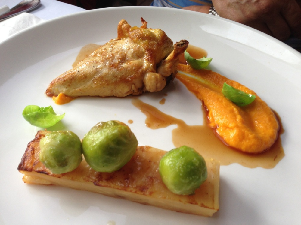 Roastged corn fed chicken breast, carrot puree, potato mille feuille and brussels sprouts