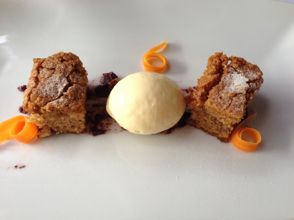 Carrot cake, cheese ice cream, kalamataolive puree, walnut crumble, shredded carrot