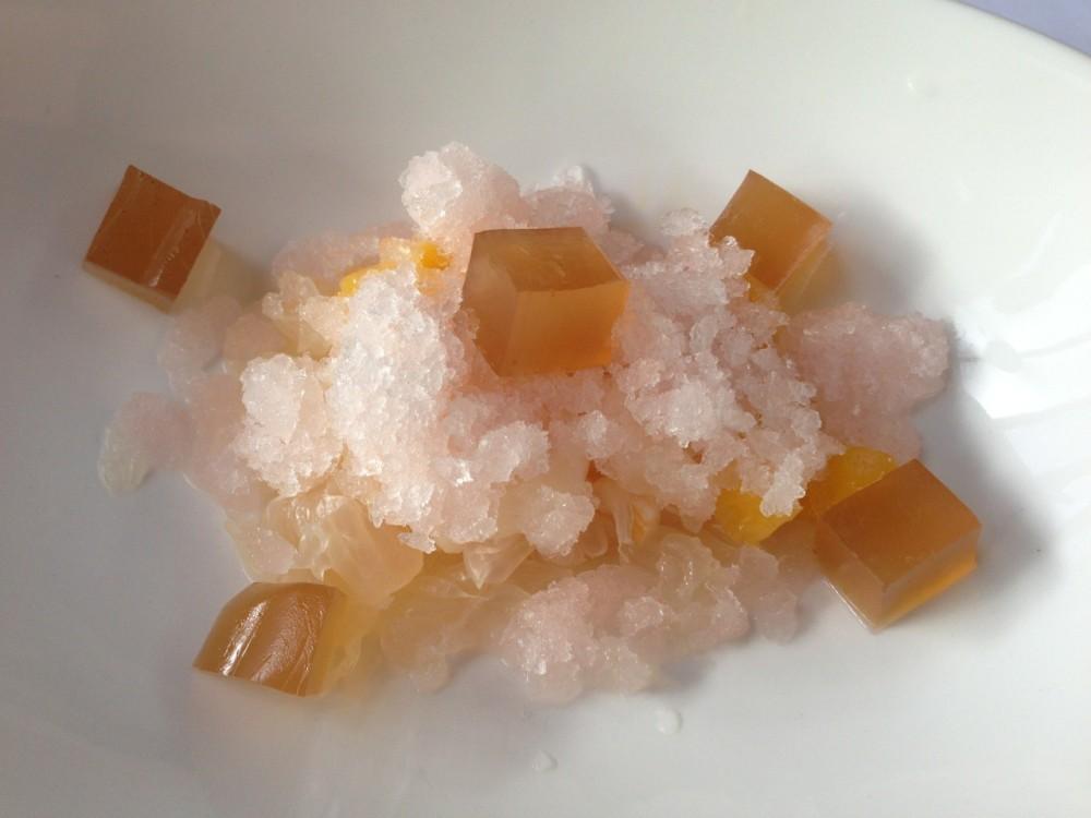Fruits and lemongrass, sweet mango, lychee, pomelo, lemongrass granite and ginger jelly