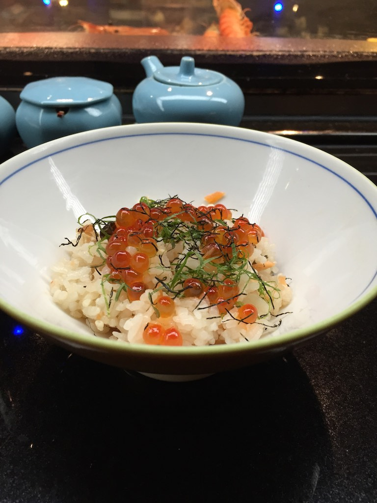 "Organic Salmon ""Takigomi Gohan"" with Fresh Seasonal Salmon Roe, Shiso, Seaweed (Fugu Set)"