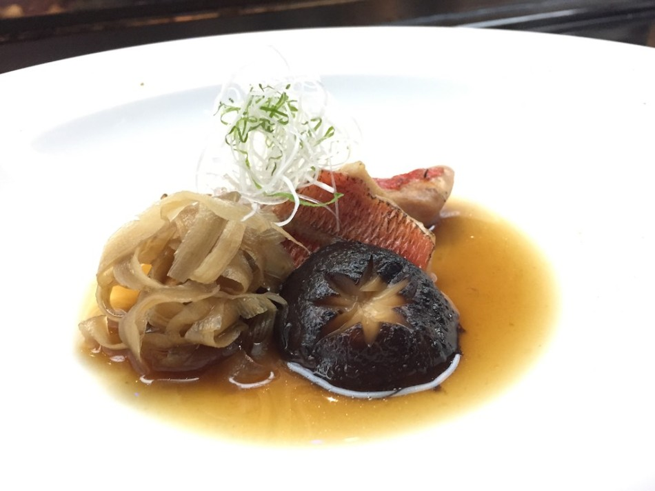 Soy Braised Kinmedai Fish and Burdock, Shiso, Leaks (Fugu Set)