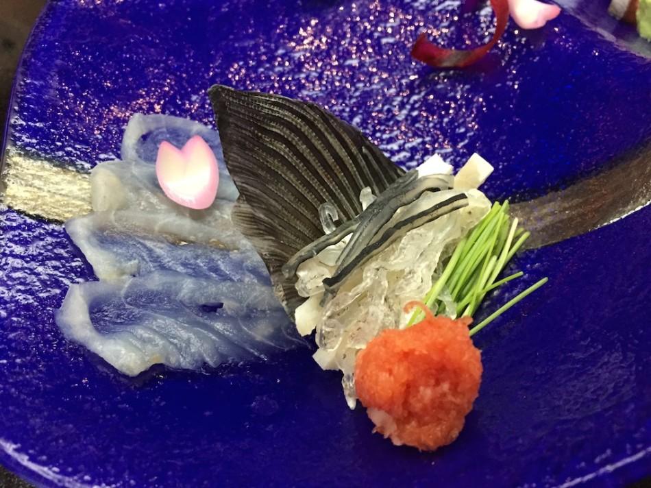 Globefish Sashimi with Baby Leeks and Ponzu (Fugu Set)