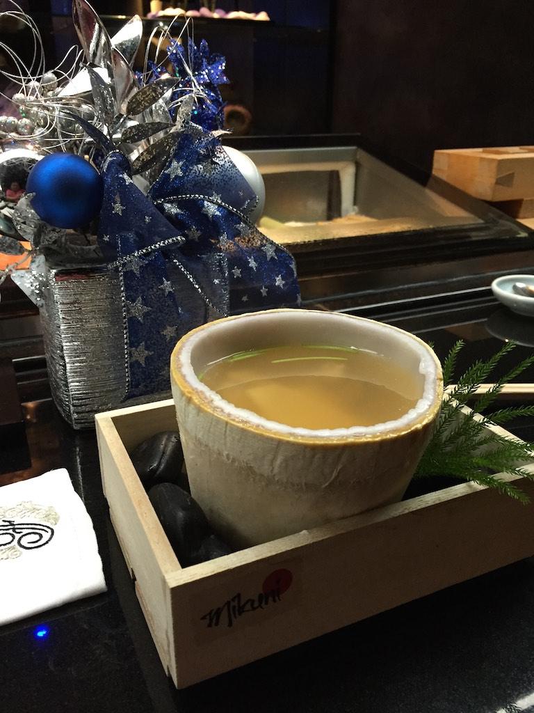 "Mikuni Style ""Shinpomushi"" with Coconut, Fugu, Abalone, Shirk, Matsutake Mushroom, Gingko Nuts (Fugu Set)"