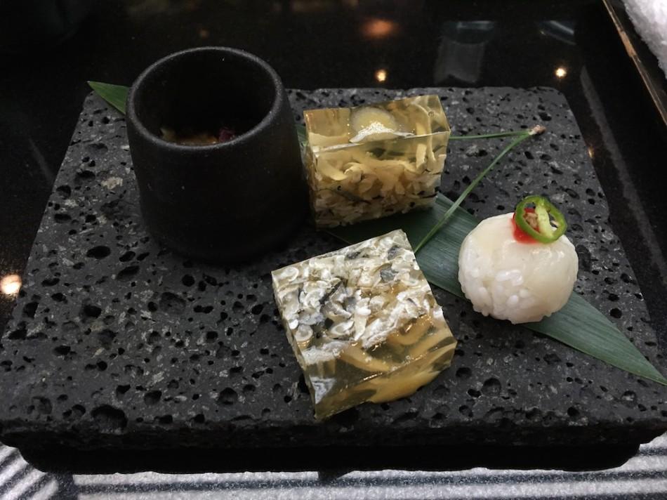 Otoushi - Globefish Skin Jelly with Miso and Sushi, Fresh Beancurd Skin with Fugu Mirin Bishi, Hazelnuts (Fugu Set)