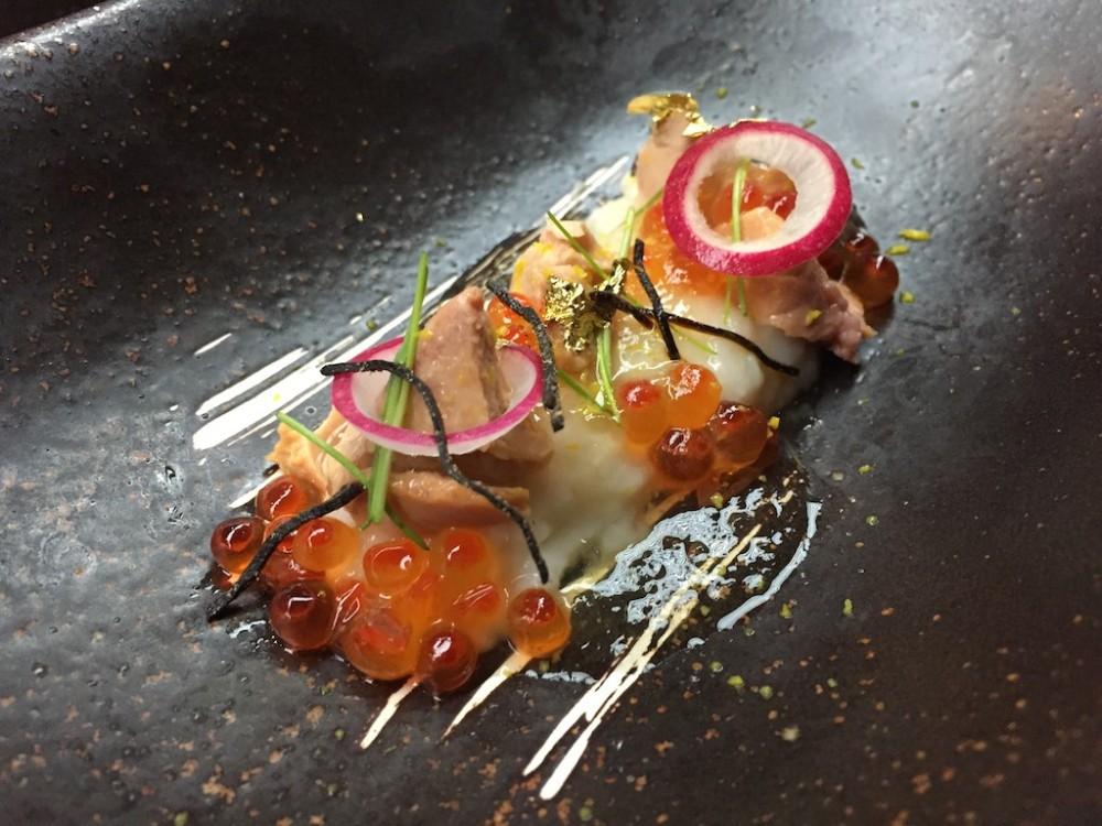 Otoushi - Hokkaido Fresh Salmon Roe with Kyoto Kabu Tofu and Monkfish Liver, Yuzu Jelly, Baby Leeks (Winter Set)