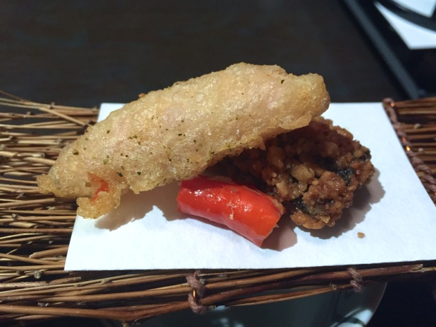 Fried crab meat, burdock and shrimp dumpling rolled with pepper