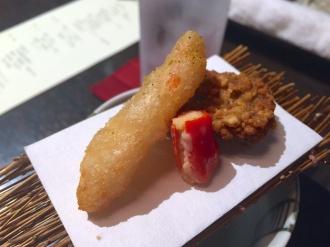 Fried crab, burdock and shrimp dumpling