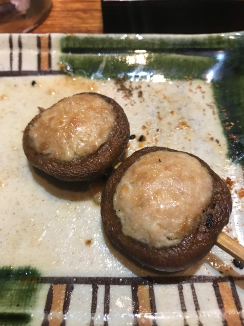 肉詰め椎茸 (Shitake stuffed with minced chicken)