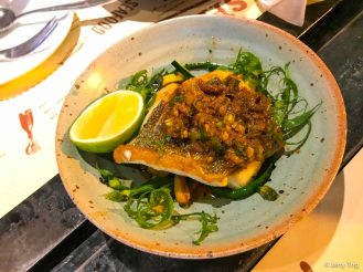 Sea bass, garlic chives, courgette, XO dressing