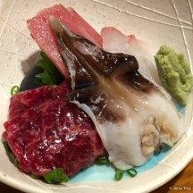 Sashimi of Whale, Chutoro and Firefly Squid