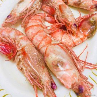 Poached sea prawns