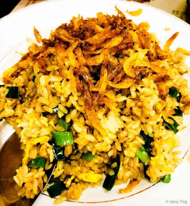 Uni fried rice with sakura prawns