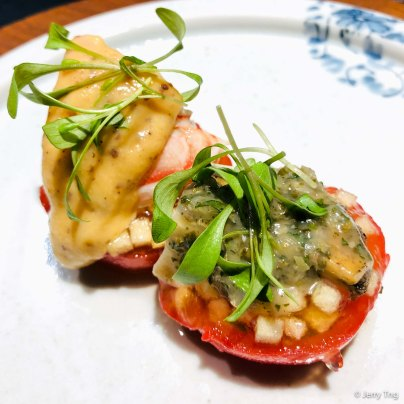 Abalone, spiny lobster, Fuji apple