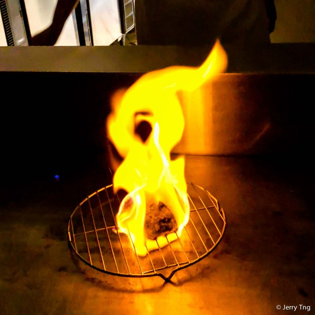 Flaming the burger steak