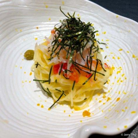 Sous-vide quail egg and Bottarga