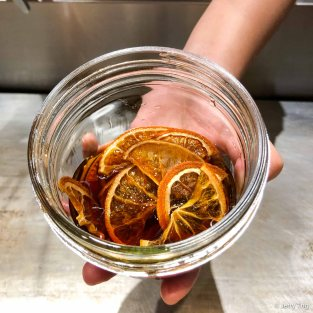 Dried mandarin soaked in Barcadi rum