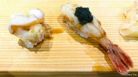 Abalone and botan shrimp