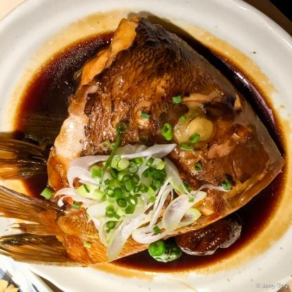 Braised fish head in sweet soy sauce