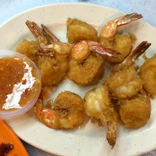 Battered prawns
