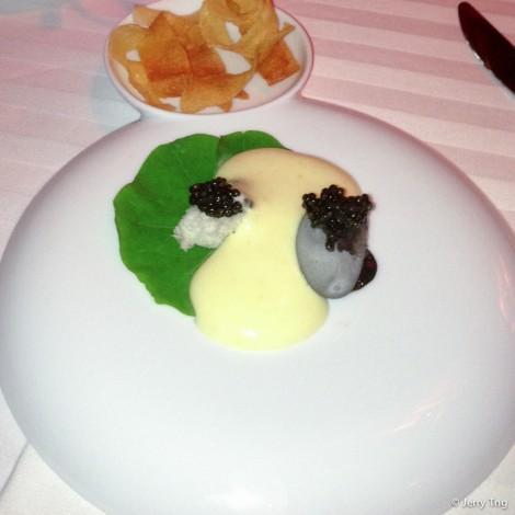 """Caviar and potato """"stones"""", smoked egg sabayon"""