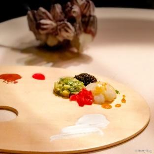 """""""Aori"""" squid and avocado tartar with oscietra caviar"""