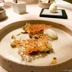 "Cauliflower ""a la meunière"" with sea cauliflower (cod milt), white sesame dentelle"