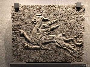 白虎画像石(隋 581-618)Stone brick carved with white tiger (Sui dynasty 581-618)