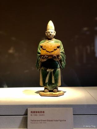 陶黄绿釉男俑(明 1368-1644)Yellow and green glazed male figurine (Ming dynasty 1368-1644)