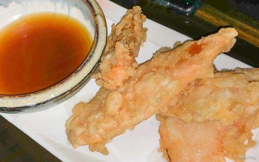 Sweet potato tempura, lightly battered sweet potato served with tempura sauce