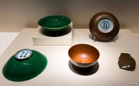 明 嘉靖 瓜皮绿釉碗、黄釉碗、黄釉盘