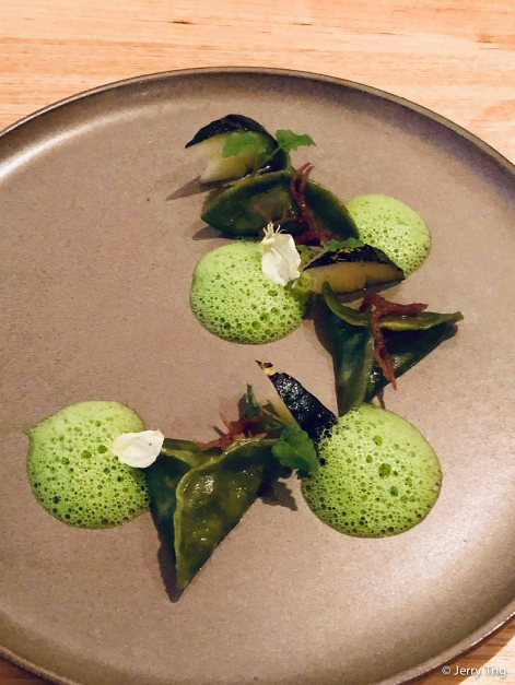 [New spring 年春] Parcels of goodness 除歲餃好 Chef's special cheese ravioli, shrimp, watercress foam, seaweed.