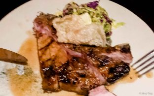 Berkshire pork cutlet, brussels sprout salad