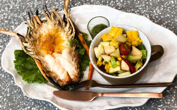 Corn, apple, avocado salad with grilled king prawn