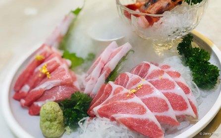 bluefin tuna sashimi, sweet prawn