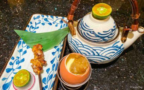 Uni with egg, teapot soup