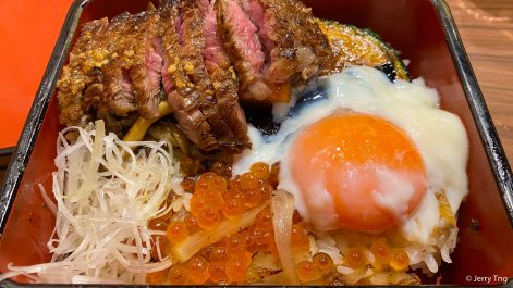 Steak with Ikura and Onsen Egg
