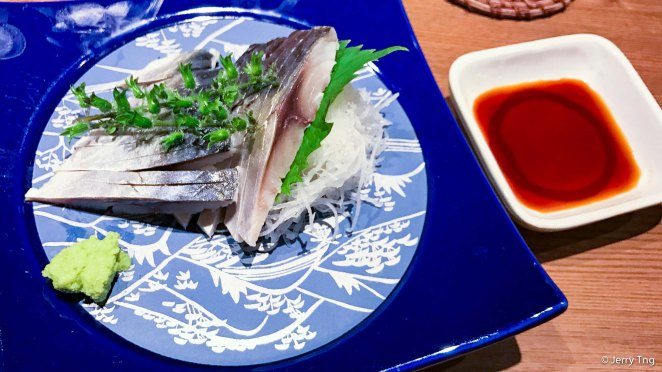 Vinegared saba sashimi