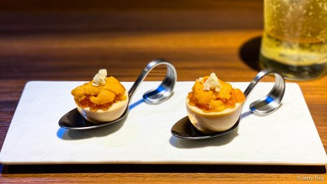 Soft-boiled eggs with sea urchin and salmon roe