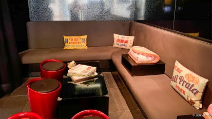 Bar area with cushions depicting local delicacies