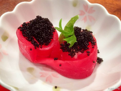 Tuna with black tobiko